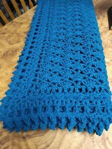 Handmade NEW Victorian Shells Crochet Afghan Real Teal Blanket 54X66 inches