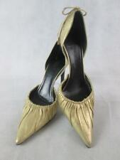 GUCCI GOLD LEATHER POINTED TOE ANKLE BOW DETAIL D'ORSAY SLIM HEEL PUMPS 6B EUC