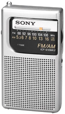 Brand New Sony Pocket AM/FM Radio Handheld Portable Travel Size Handheld Silver