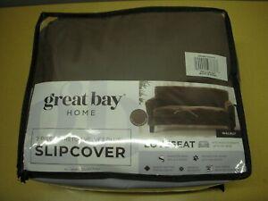"Great Bay Home 2 Pc. Stretch Velvet Slipcover - Up to 72"" Loveseat/Sofa - Walnut"