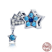 Genuine 925 Sterling Silver Blue Cubic CZ Star Charms Beads fit Original Bangles