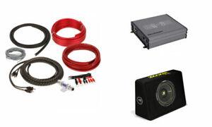 "Kicker 44TCWC104 10"" 600W Slim Subwoofer Box + Belva Amplifier + 8 Gauge Amp Kit"
