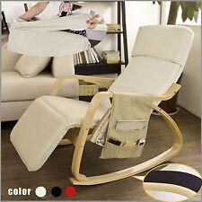 SoBuy ® fauteuil à bascule avec réglable Repose-pied, livres MAGS titulaire, FST16-W, UK