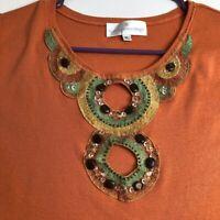 Soft Surroundings Women's Tank Top Blouse XL Orange Embellishments Cutout Boho