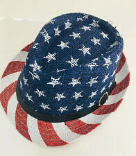Fedora Hat American Flag UV Protection 100% Paper Lucky 7 USA One Size Red/Blue