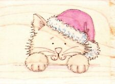 PEEK A BOO KITTY - Wood Mounted Rubber Stamp - Lindsay Mason Designs