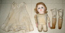 Antique German Sawdust Filled Leather Doll With Chalkware / Plaster Head