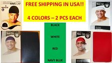 STOCKING WAVE CAPS BLACK RED NAVY BLUE WHITE 8 PCS KNIT DURAG DOORAG