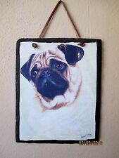 NEW - DARLING PUG SLATE WALL HANGING INDOOR OUTDOOR BY ROBERT MAY EXC COND