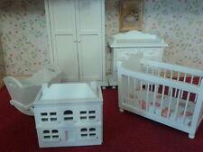Dolls House Emporium 1/12th Scale 5 Piece White Wooden Nursery Set 5961 New