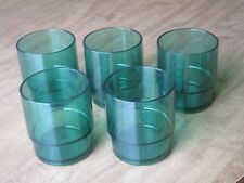 Vintage Tupperware Acrylic  Lot of 5  Green Cups Glasses 10 oz.