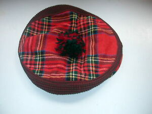 Kiltmaker Hector Russell Tartan Plaid & Brown Stretch Cap  Authentic Scottish Ca