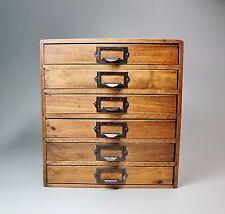 "Vtg Dovetail Wood 6 Drawer Desktop Art Supply Paper Storage File Jewelry Box 15"""