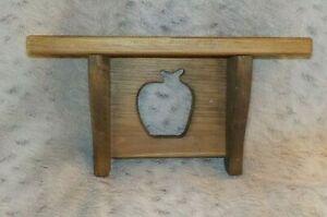 "Country pine wood wall shelf, 5 1/2"" x 12"", apple cutout, character knots, 6 3/4"