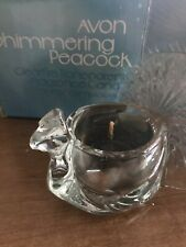 Avon Vintage Glass Shimmering Peacock Clearfire Transparent Fragrance Candle New