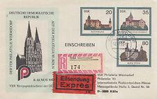 DDR Ganzsachenumschlag U 2 als Messebeleg gelaufen PHILATELIA 1985 (U16)