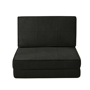 Flip Chair Bed Sofa Convertible Futon Sleeper Couch Dorm Ultra Suede black