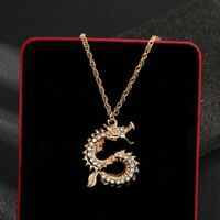 Luxury Crystal Dragon Pendant Necklace Women Fashion Gold Long Chain Jewelry