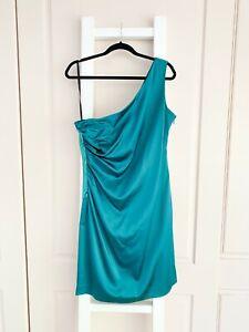 CALVIN KLEIN green stretch satin one-shoulder dress / US 14 / AU 16 / FREE POST