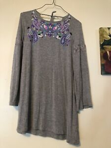 JUSTICE GIRL DRESS LONG BELL SLEEVE SCOOP SHINY PRINTED NECK LACE TRIM SZ 12 EUC