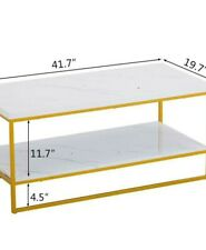 Modern Style Marble Coffee Table Living Room Furniture Metal Frame