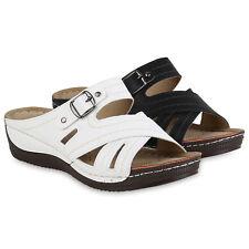 Damen Sandaletten Schnallen Pantoletten Keilabsatz Wedges 822207 Schuhe