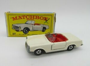 Vtg Matchbox Lesney Superfast #27 Mercedes Benz 230 SL White with Original Box