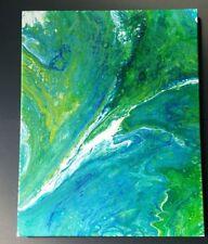 Original Painting Abstract Ocean Swirl Acrylic on Canvas Fluid Art Flow16x20 OBX