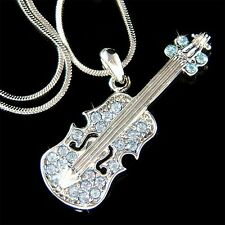 Baby Blue Violin Viola Cello Fiddle made with Swarovski Crystal Musical Necklace