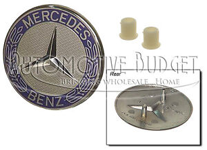 Mercedes Benz Flush Style Hood Emblem with Retainers/Grommets - NEW OEM