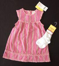 NWT Gymboree Monkey Island 12-18 Months Pink Striped Dress & Flower Socks