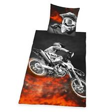 MOTORBIKE FLAMES SINGLE DUVET COVER AND PILLOWCASE SET - NEW BEDDING FREE P+P