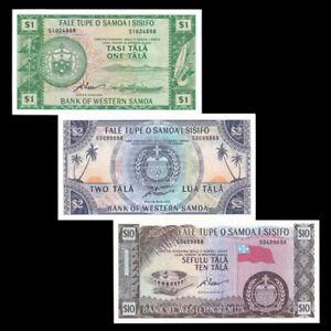 Set 3 PCS, Western Samoa 1 2 10 Tala, 1967(2020), Limited Reprint, Banknote, UNC