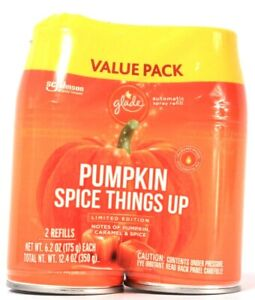 2 Pack Glade Limited Edition Pumpkin Spice Things Up Automatic Spray Refill