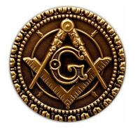 "Masonic Square & Compass Round Antique Brass 1"" Inch Lapel Pin"