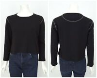 Womens Annette Gortz Merino Wool Jumper Knit Sweater Black Cropped Size S