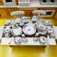40Pcs/set 1:12 Dollhouse Miniature Tableware Porcelain Ceramic Tea Cup Dis Jy