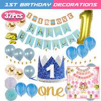 Latex Balloon Banner Crown Hat 1st Happy Birthday Party Baby Shower