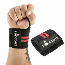 Proworks Adjustable Black Weight Lifting Wrist Wraps Straps Supports (Set of 2)