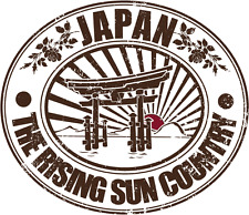 "Japan Rising Sun Country Travel Car Bumper Sticker Decal 5"" x 4"""