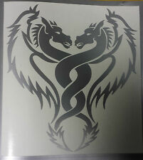 TWIN DRAGON - Silver - Car Boat Van Window Laptop Vinyl graphics sticker Decal