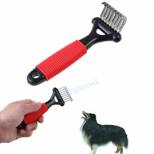 Pet Dog Cat Long Thick Hair Fur Shedding Remove Grooming Rake Comb Brush