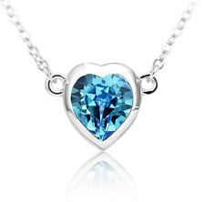 Made with Swarovski Elements blue heart shape pendant crystal necklace  ref;1608