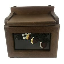 Vintage Wood Recipe Box Glass Front Fruit Floral Attached Lid