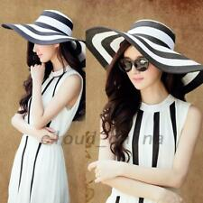 White Black Floppy Stripe Sun Hats Wide Brim Straw Hat Foldable Bowknot AU Local
