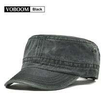 Vintage Mens Army Cap Trucker Baseball Cap 100% Cotton Distressed Snapback Black