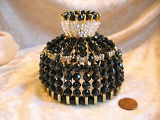 BEADED SHADE FOR WINDOW TABLE NIGHT LIGHT ELECTRIC CANDLE JET BLACK