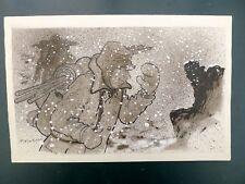 TRUBERT illustration originale trappeur dans la neige signée