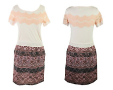MAISON JULES Cap Sleeve Lace Overlay Layer Pearl Combo Dress Womens M $90 NEW