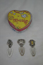 Brighton Paper Clip Bookmarks Set of 3 Heart Feather Silver Gold